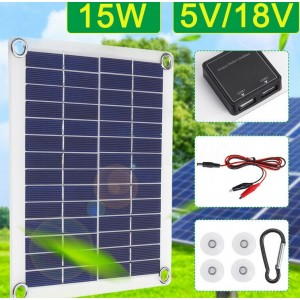 15W 5V  Monokristal Dual USB Solarpanel Solarmodul